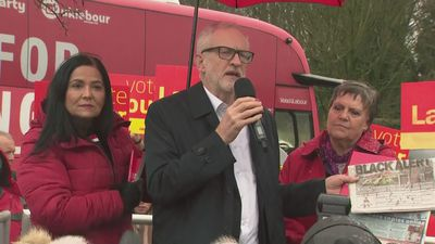 Corbyn speaks alongside local Labour candidates in Bolton
