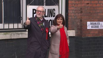 Jeremy Corbyn casts his vote in the 2019 General Election