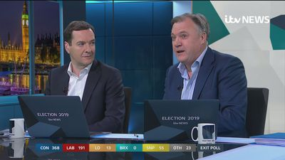 Ed Balls reacts to exit poll