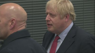Boris Johnson arrives for Uxbridge results