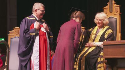 Camilla awards Princess Anne honorary degree