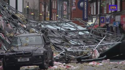 Roof blown onto Slough high street by Storm Brendan