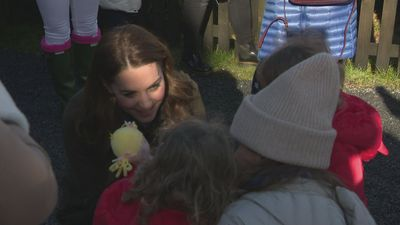 Kate charms families during visit to Northern Ireland farm