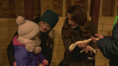 Kate comes face-to-face with a snake during farm visit