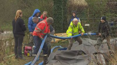 Storm Dennis: Residents in Yorkshire build 'AquaDam'
