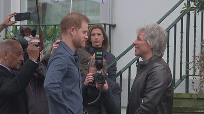 Prince Harry meets Jon Bon Jovi at Abbey Road