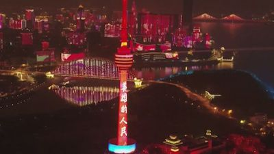 Coronavirus: Spectacular light show marks end of Wuhan lockdown