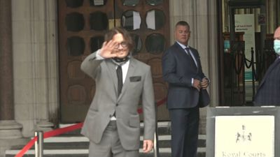 Johnny Depp arrives at court for second week of trial