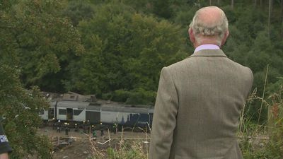 Prince Charles visits train crash site