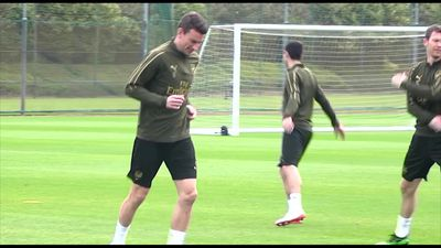 Arsenal training pre Valencia