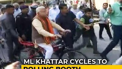 """""""Wanted To Travel Like A Common Man"""": ML Khattar Takes Train, Then Cycles To Poll Station"""