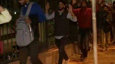 Jamia University Students Marched Out With Hands Up Amid Clashes