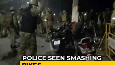 Cops Seen Smashing Bikes After Protests Erupt At Aligarh University
