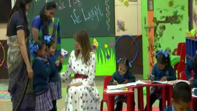 "Melania Trump Sits Down With Delhi Schoolchildren At ""Happiness Class"""