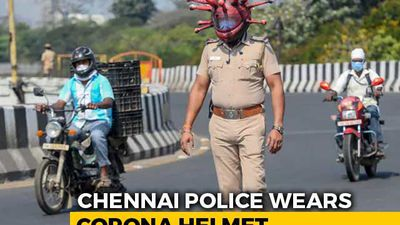 "Chennai Cops Use ""Coronavirus Helmet"" To Raise Awareness On COVID-19"