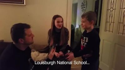 Kids delighted at Dad's 'news report' telling them school has a snow day