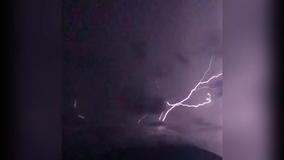 Upward lightning on Guatemala mountain captured in striking video