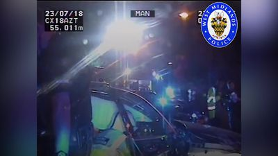 Car flips over in 90mph police chase