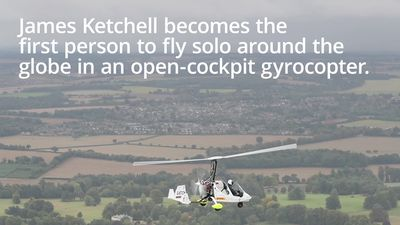 Adventurer lands in UK after flying solo around the world in a gyrocopter