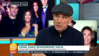 Vinnie Jones breaks down in first TV interview since wife's death