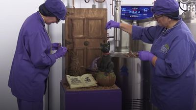 Spooky Halloween scene crafted by Cadbury World chocolatiers