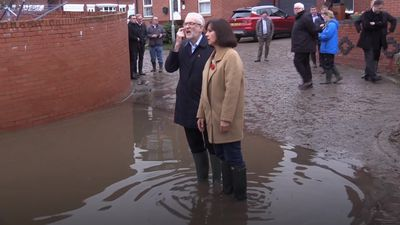 Corbyn calls for better flood management as deluged areas get sunny respite