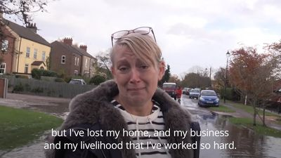 UK flooding: Woman moved to tears after losing home and business
