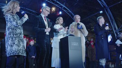 Stars of Last Christmas Emilia Clarke and Emma Thompson switch on Covent Garden Christmas lights