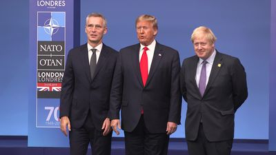 Boris Johnson greets Donald Trump at Nato's 70th anniversary