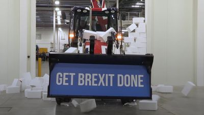 Boris Johnson drives digger through Brexit 'gridlock' wall