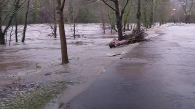 Storm Dennis: River Taff bursts its banks in South Wales
