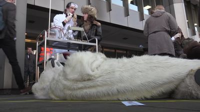 Extinction Rebellion targets 'dirty' shipping fuel in dead polar bear protest