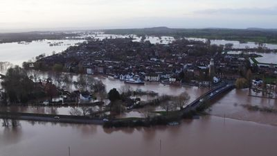 Drone footage shows UK town surrounded by flood water