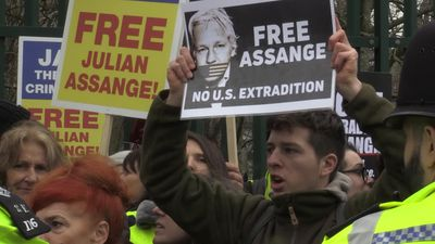 Julian Assange supporters protest outside court ahead of extradition hearing