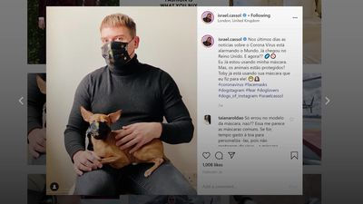Instagram influencer makes coronavirus mask for his dog