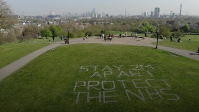 Social distancing message created in Primrose Hill