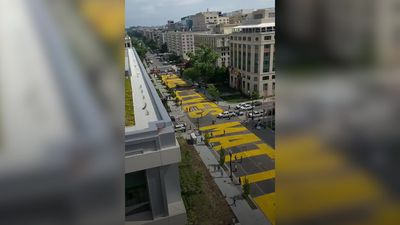 Black Lives Matter banner painted onto Washington DC street