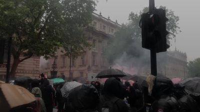 Protesters at anti-racism rally clash with police at Downing Street