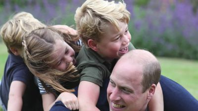 Prince William's kids pile on him in sweet pictures to mark his birthday