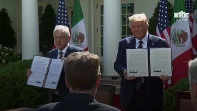 Donald Trump claims improved ties as he hosts Mexico's president