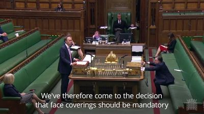 Hancock announces that face coverings will be compulsory in England's shops