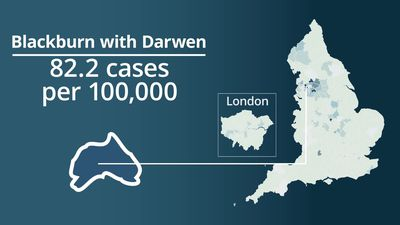 Coronavirus: England areas with most new cases per 100,000 people