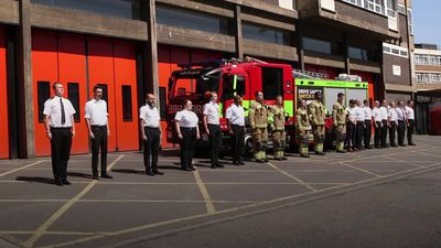 London Fire Brigade hold minute's silence for colleagues in Beirut