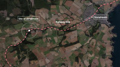 Train derails near Stonehaven, Aberdeenshire