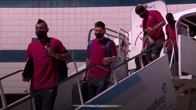 Lionel Messi and Barcelona teammates arrive in Lisbon
