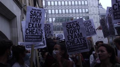 Students protest outside the Department for Education