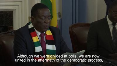 Zimbabwe's president calls for unity after elections