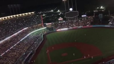 Moment baseball stadium is plunged into darkness