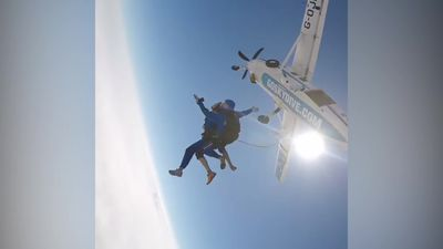 Meet the skydiving couple who jumped into their engagement