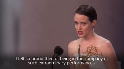 Claire Foy holds back tears after winning Emmy